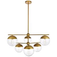 Living District LD6145BR Eclipse 6 Light 36 inch Brass Pendant Ceiling Light