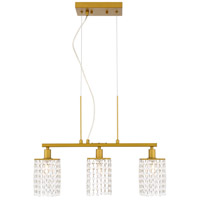 Living District LD7501BR Taylor 3 Light 5 inch Brass Pendant Ceiling Light