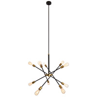 Axel 10 Light 27 inch Black and Brass Chandelier Ceiling Light
