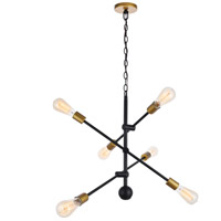 Living District LD8006D29BK Axel 6 Light 29 inch Black and Brass Pendant Ceiling Light