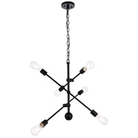 Living District LD8006D29BLA Axel 6 Light 29 inch Black Pendant Ceiling Light photo thumbnail