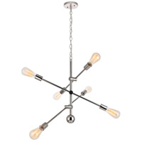 Living District LD8007D29PN Axel 6 Light 29 inch Polished Nickel Pendant Ceiling Light