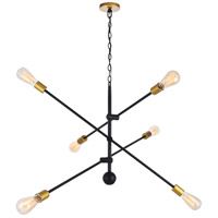 Living District LD8009D42BK Axel 6 Light 42 inch Black and Brass Pendant Ceiling Light