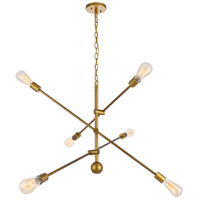 Living District LD8011D42BR Axel 6 Light 42 inch Brass Pendant Ceiling Light