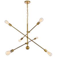 Living District LD8011D42BR Axel 6 Light 42 inch Brass Pendant Ceiling Light