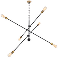 Living District LD8012D55BK Axel 6 Light 55 inch Black and Brass Pendant Ceiling Light