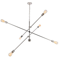 Living District LD8013D55PN Axel 6 Light 55 inch Polished Nickel Pendant Ceiling Light