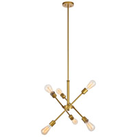 Living District LD8017D18BR Axel 6 Light 17 inch Brass Pendant Ceiling Light
