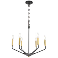 Living District LD8026D22BK Enzo 6 Light 22 inch Black and Brass Pendant Ceiling Light