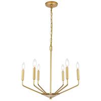 Living District LD8028D22BR Enzo 6 Light 22 inch Brass Pendant Ceiling Light