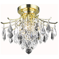 Living District LD8100F16G Amelia 3 Light 16 inch Gold Flush Mount Ceiling Light