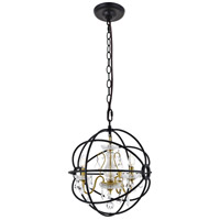 Living District LD8801D17GB Cordelia 3 Light 17 inch Black and Gold Pendant Ceiling Light