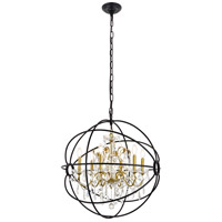 Living District LD8801D25GB Cordelia 6 Light 26 inch Black and Gold Pendant Ceiling Light