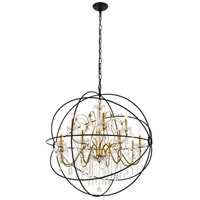 Living District LD8801D43GB Cordelia 12 Light 44 inch Black and Gold Pendant Ceiling Light