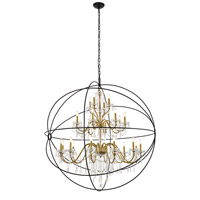 Living District LD8801D60GB Cordelia 24 Light 59 inch Black and Gold Pendant Ceiling Light