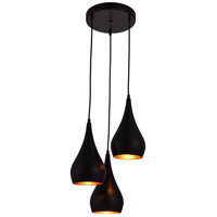 Living District LDPD2000 Nora 3 Light 15 inch Black Pendant Ceiling Light