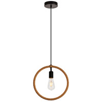 Living District LDPD2085 Gerrit 1 Light 12 inch Black and Brown Pendant Ceiling Light