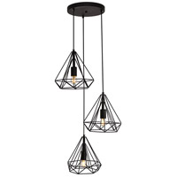 Living District LDPD2091 Jago 3 Light 18 inch Black Pendant Ceiling Light