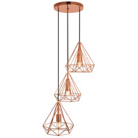 Living District LDPD2092 Jago 3 Light 18 inch Copper Pendant Ceiling Light