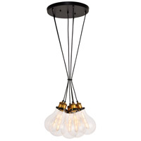 Living District LDPD2098 Watts 6 Light 17 inch Black and Brass Pendant Ceiling Light