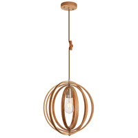 Living District LDPD2107 Stanton 1 Light 15 inch Wood Grain and Burnished Nickel Pendant Ceiling Light