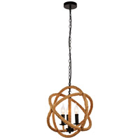 Living District LDPD2109 Gerrit 3 Light 16 inch Black and Brown Pendant Ceiling Light