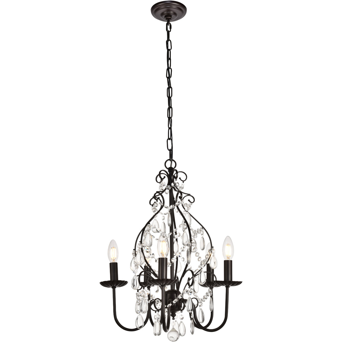 Details About Crystal Chandelier Oil Rubbed Bronze Dining Living Room Wrought Iron 5 Light 23