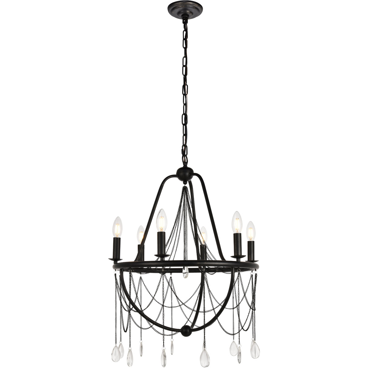 Details About Crystal Chandelier Wrought Iron Kitchen Dining Room Lighting Fixture 6 Light 24