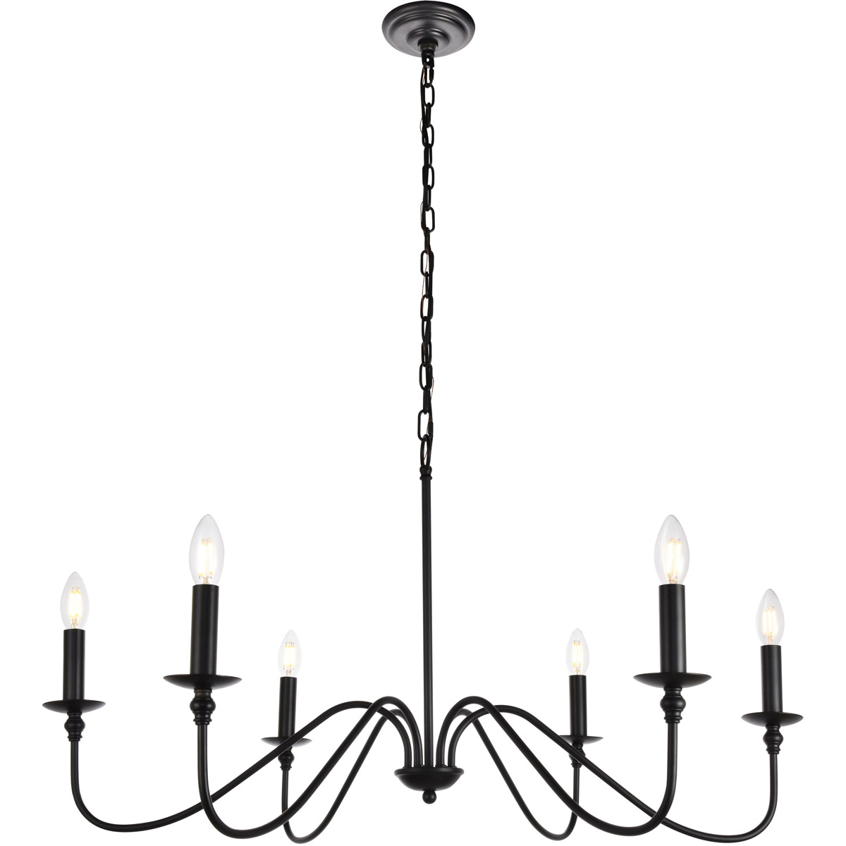 Details About Chandelier Wrought Iron Country Cottage Dining Living Room Kitchen 6 Light 36