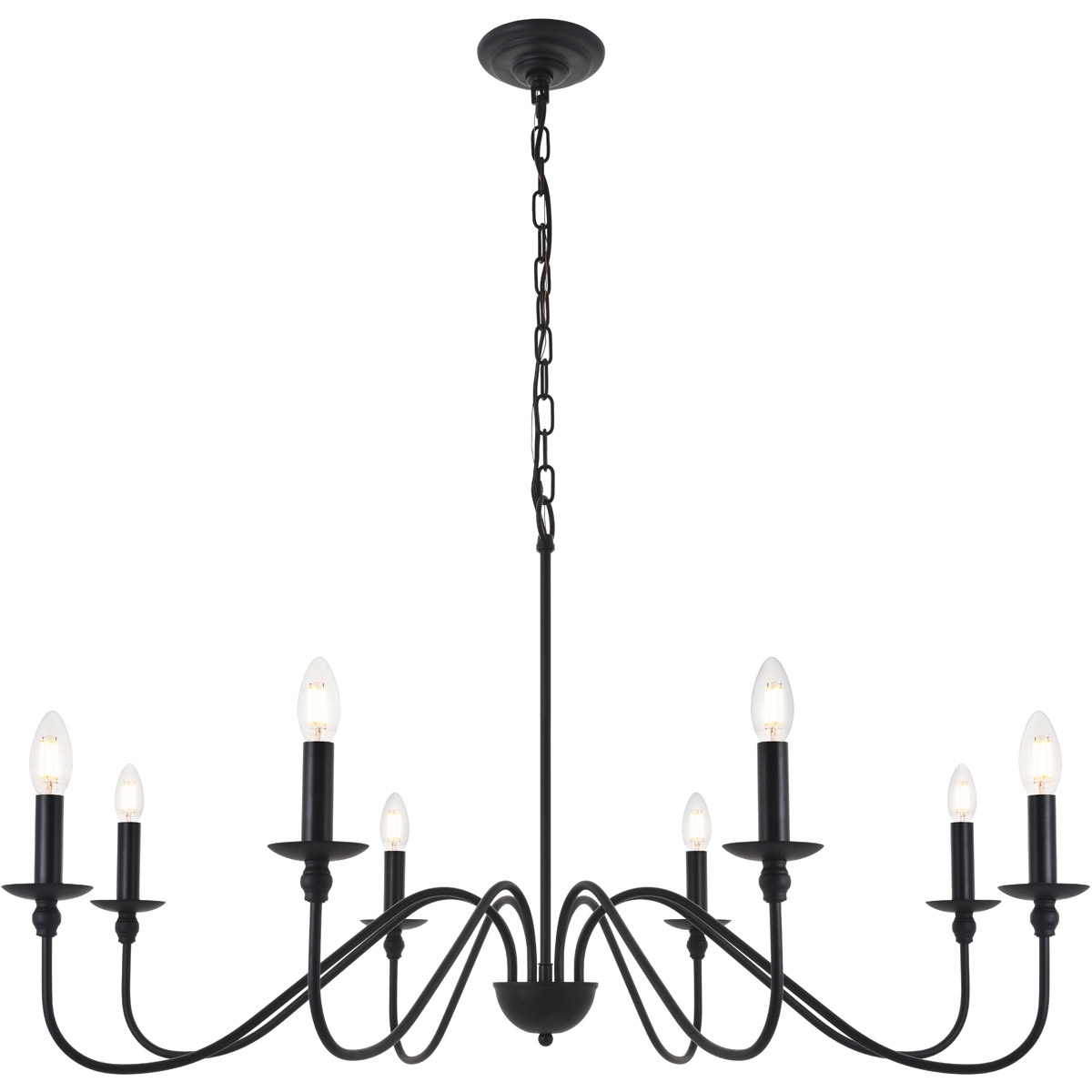 Details About Chandelier Fixture Wrought Iron Country Cottage Dining Room Kitchen 8 Light 42