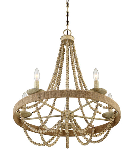 Light Visions PL0058 97 Coastal 5 Light 26 Inch Natural Wood And Rope  Chandelier Ceiling