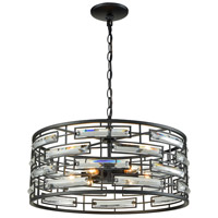 Light Visions 11601-6 Contemporary 6 Light 20 inch Matte Black Pendant Ceiling Light, Drum, Elongated Clear Crystal
