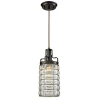 Industrial 1 Light 6 inch Oiled Rubbed Bronze Pendant Ceiling Light, Clear Bubble Glass