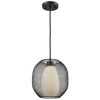 Light Visions 11641-1 Modern 1 Light 10 inch Matte Black Pendant Ceiling Light, Frosted Opal Glass