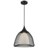 Modern 1 Light 13 inch Matte Black Pendant Ceiling Light, Frosted Opal Glass