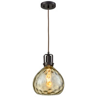 Transitional 1 Light 9 inch Oiled Rubbed Bronze Pendant Ceiling Light, Champ Glass