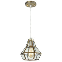 Vintage 1 Light 8 inch Antique Brass Pendant Ceiling Light, Clear Glass