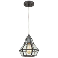 Light Visions 13412-1ORB Vintage 1 Light 8 inch Oil Rubbed Bronze Pendant Ceiling Light, Clear Glass