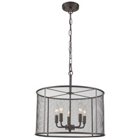 Industrial 5 Light 21 inch Black Chandelier Ceiling Light