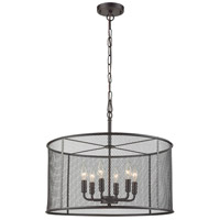 Industrial 6 Light 24 inch Black Chandelier Ceiling Light