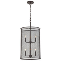 Industrial 6 Light 17 inch Black Chandelier Ceiling Light