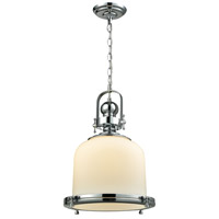 Light Visions 180994-1 Restoration 1 Light 14 inch Chrome Pendant Ceiling Light, Cylinder Shade Glass