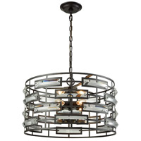 Colby 6 Light 20 inch Oiled Rubbed Bronze Pendant Ceiling Light, Drum, Elongated Clear Crystal