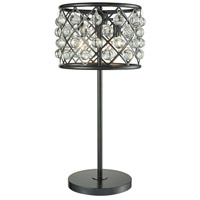 Contemporary 27 inch 40 watt Black Table Lamp Portable Light, Clear Round Crystal