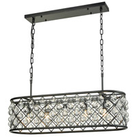 Contemporary LED 33 inch Black Island Ceiling Light, Clear Round Crystal