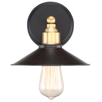 Industrial 1 Light 8 inch Oil Rubbed Bronze with Brass Accents Wall Sconce Wall Light