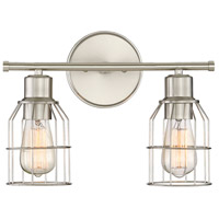 Light Visions PL0023BN Industrial 2 Light 15 inch Brushed Nickel Vanity Light Wall Light