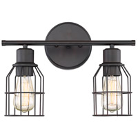Light Visions PL0023ORB Industrial 2 Light 15 inch Oil Rubbed Bronze Vanity Light Wall Light