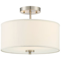 Transitional 2 Light 13 inch Brushed Nickel Semi Flush Mount Ceiling Light