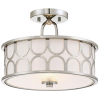 Transitional 2 Light 13 inch Polished Nickel Semi Flush Mount Ceiling Light